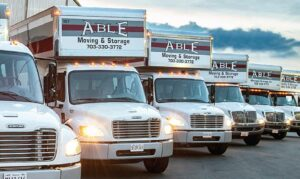 Able Moving & Storage trucks lined up